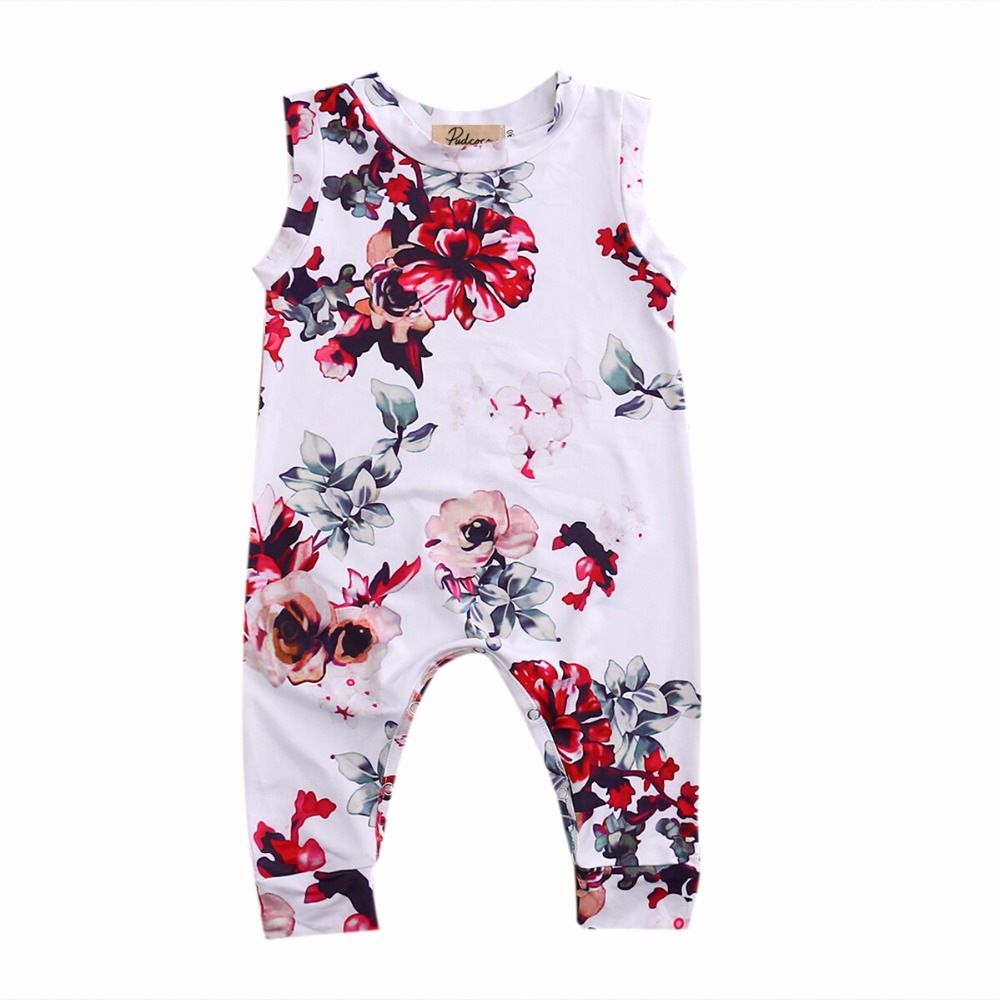 Kid Newborn Summer Clothes Toddler Baby Boy Girl Sleeveless Floral Cotton Romper Outfits Sunsuit 2017 baby girl summer romper newborn baby romper suits infant boy cotton toddler striped clothes baby boy short sleeve jumpsuits