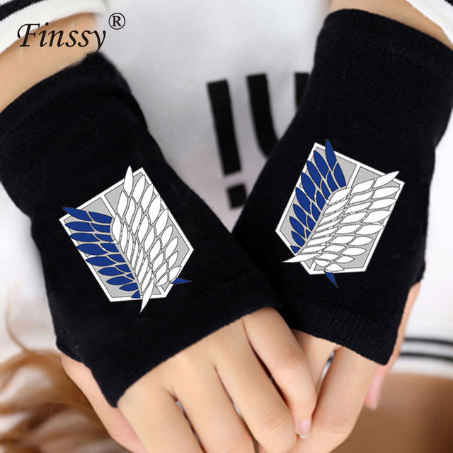 Anime Attack on Titan Madara cat Finger Cotton Knitting Wrist Gloves Mitten Lovers Anime Accessories Cosplay Fingerless gloves
