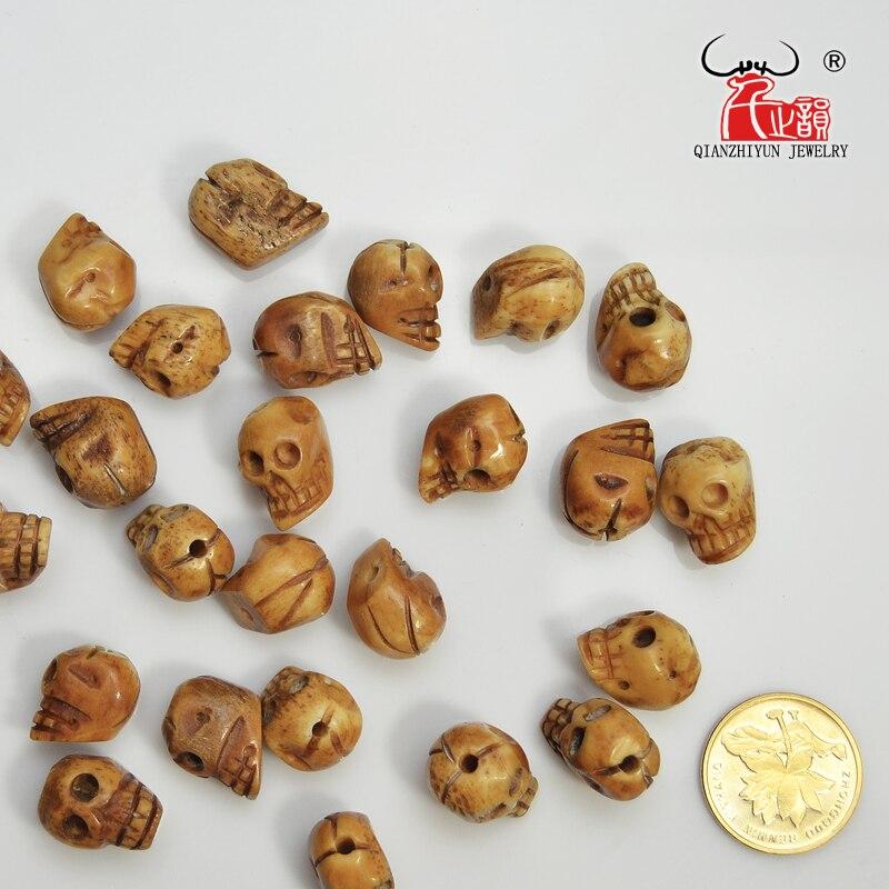 El yapımı Oyma Yak Kemik Boncuk, Kafatası Antik Boncuk Cadılar - Kostüm mücevherat - Fotoğraf 4
