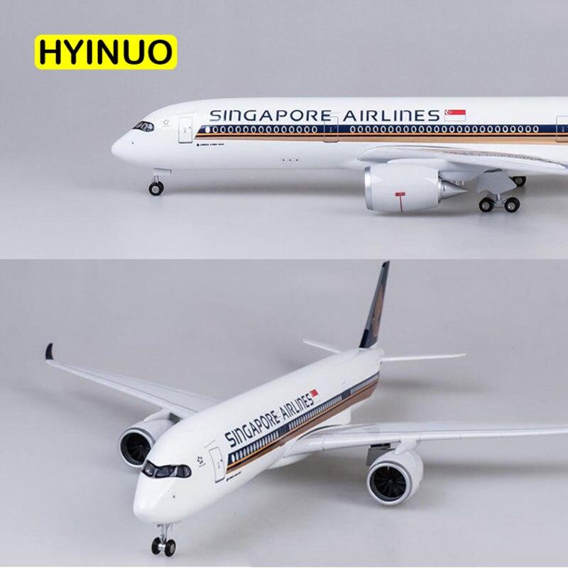 Oyuncaklar ve Hobi Ürünleri'ten Pres Döküm ve Oyuncak Araçlar'de 47 CM 1/142 Ölçekli Uçak Airbus A350 Singapur Havayolu Modeli W Işık ve Tekerlek Diecast Plastik Reçine Uçak Koleksiyonu Dekorasy'da  Grup 1