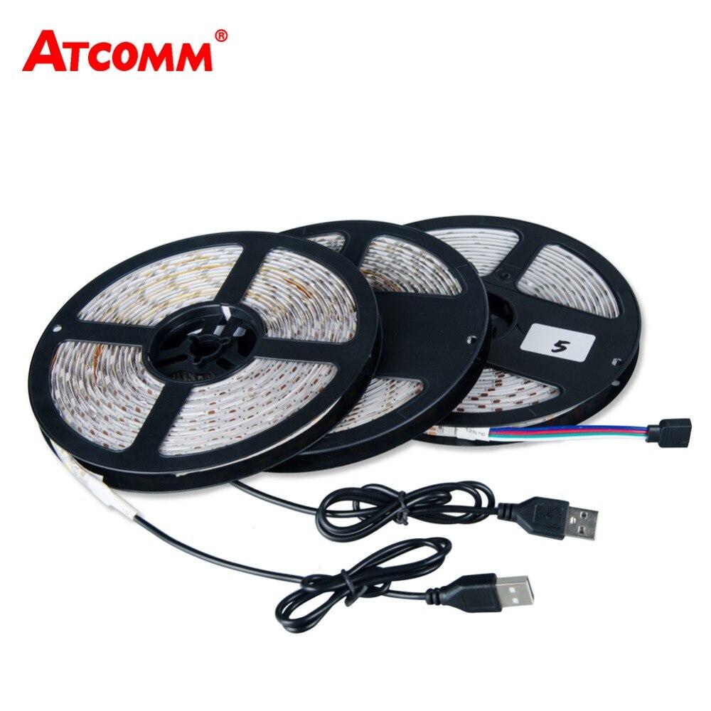 5V USB 5050 RGB LED Strip Light 60 LEDs/Meter 0.5M 1M 2M 3M 4M 5M LED Diode Tape Light Ribbon Lamp