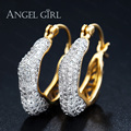 Angel Girl New Fashion Luxury Earrings Round hoop Earrings with Cubic Zirconia Earrings for Women Party & Christmas Gifts brinco