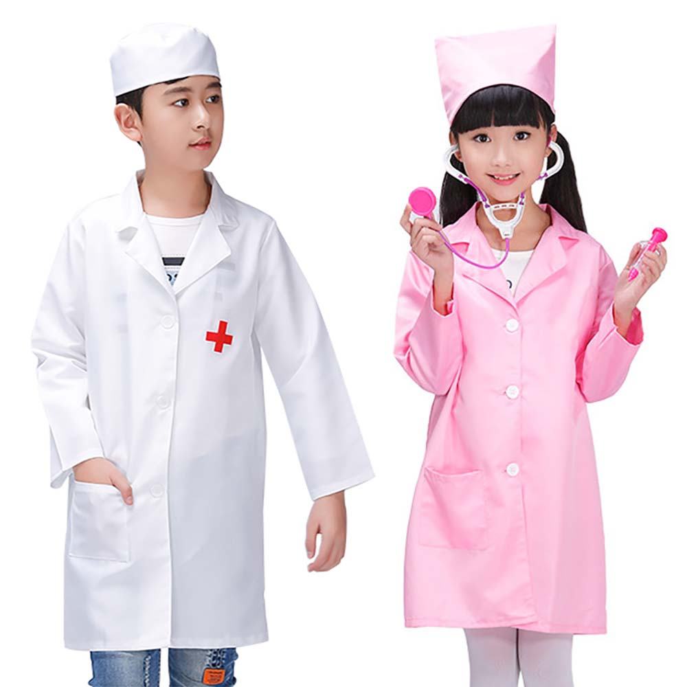 Kids Doctor Costume Hospital White Coat Fancy Dress Childs Halloween Outfit Girl