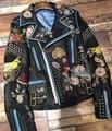 Motorista jacke de cuero pintados a mano bordado Chaqueta de la capa de Las Mujeres chaqueta chaqueta de la motocicleta está adornado con tachuelas de metal declaración