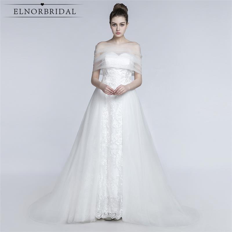 Robe De Mariee Elegant Blond Avtagbar Kjol Bröllopsklänningar 2019 Öppna Tillbaka Specialtillverkade Brudklänningar från Kina