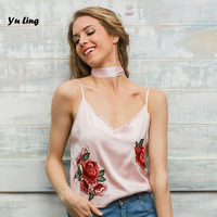 Women Leisure Sexy Strapless Flowers Embroidered V Collar Camis Women S Sweet Elegant Party Vest