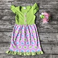 Новое поступление Пасхи день девочки дети бутик одежды оборками dress хлопок кролик печати с соответствующими оголовье аксессуары