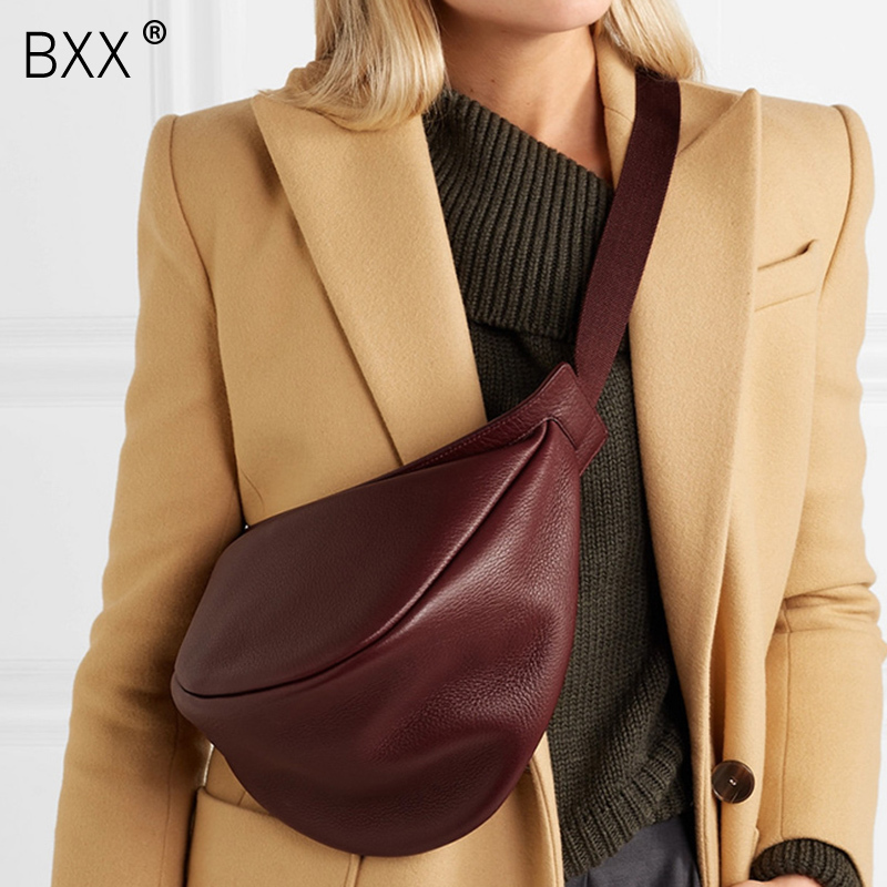 [BXX] 2020 Spring Woman New Wine Red Black Color Wide Single Strap Zipper Half Moon PU Leather Chest Bag All Match LI812(China)