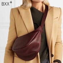 [BXX] 2020 primavera donna nuovo vino rosso nero colore largo cinturino singolo cerniera mezza luna borsa in pelle PU tutte le partite LI812