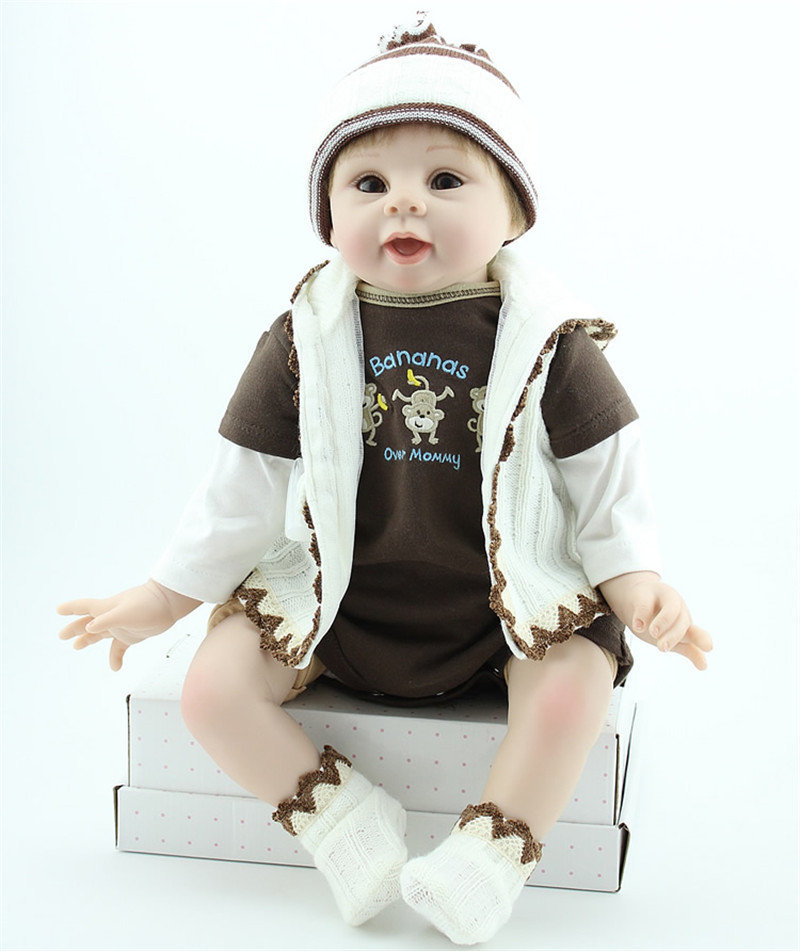 ФОТО smile reborn baby boy dolls large size 55cm lifelike silicone reborn baby dolls for sale fashion newborn babies best toys online