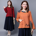 Women shirts 2016 autumn vintage style patchwork cotton linen prints pocket plate buttons long sleeve round neck T-shirt female