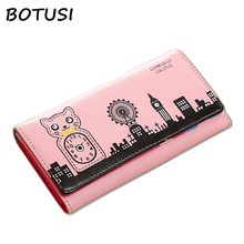 BOTUSI Famous Brand Long Purse Carton Women Clutch Wallet Phone Pocket Card Holder Portefeuille Female Cartera Mujer
