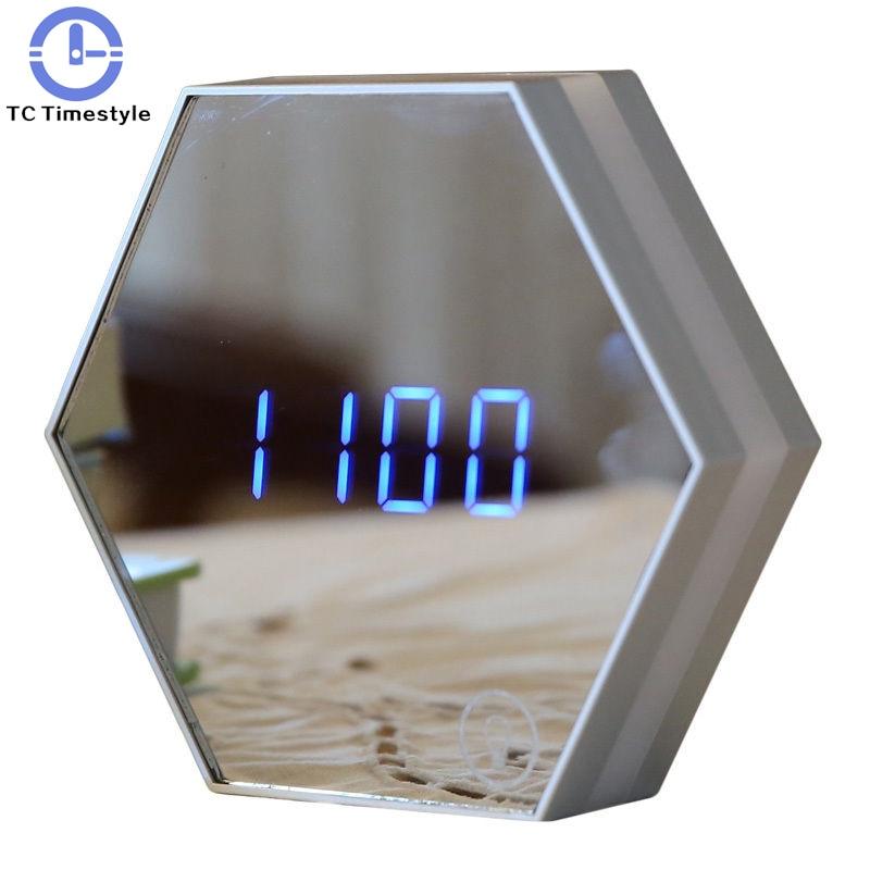 Multi-function Led Digital Alarm Clock Night Light Temperature Display Mirror Thermometer Touch Sensing Table Lamp Travel Clocks