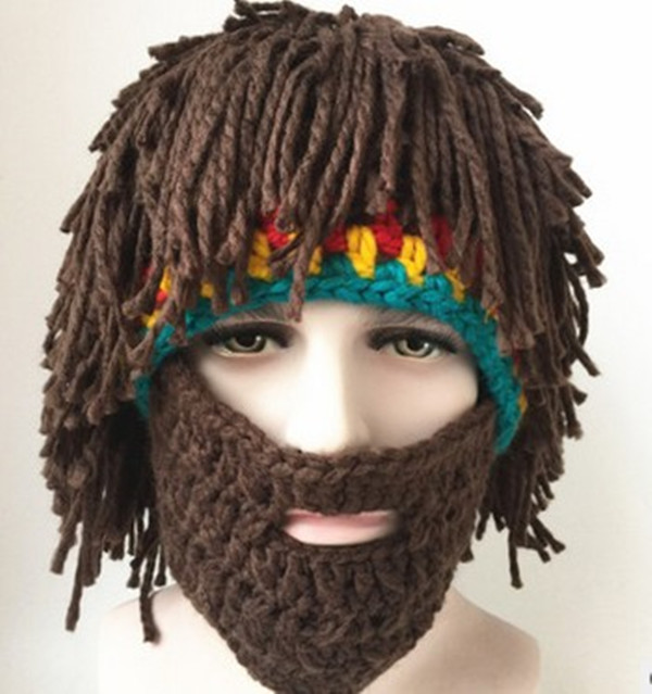 BomHCS Halloween Gift Wig Beard Hats Hobo Mad Scientist Rasta Caveman Handmade Knit Warm Winter Caps Funny Party Mask Beanies