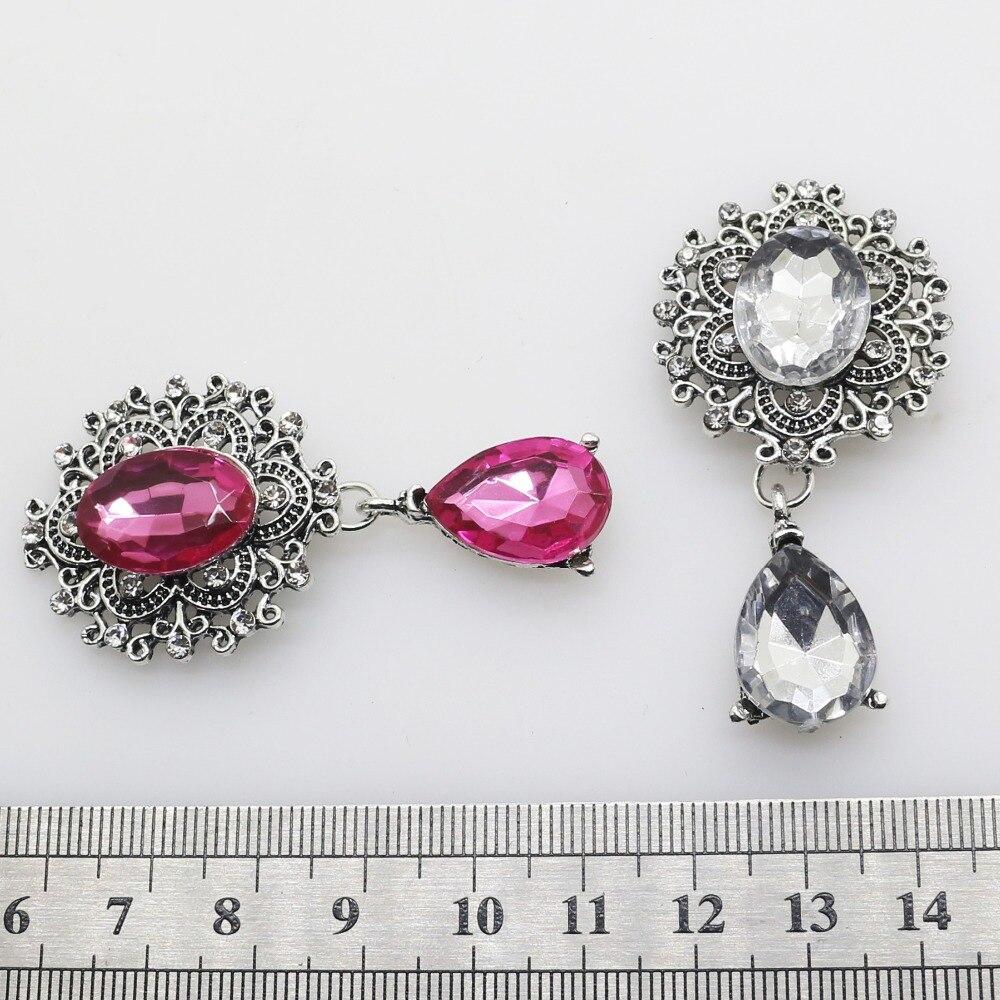 YWXINXI Fashion New Hot 1Pcs/Lot Flatback Brooches 28*56mm Alloy Accessories Diy jewelry Rhinestones Decoration 11Color 4