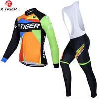 X Tiger 2017 Long Sleeve 100 Fleece Pro Cycling Jersey Set MTB Bicycle Clothes Wear Winter