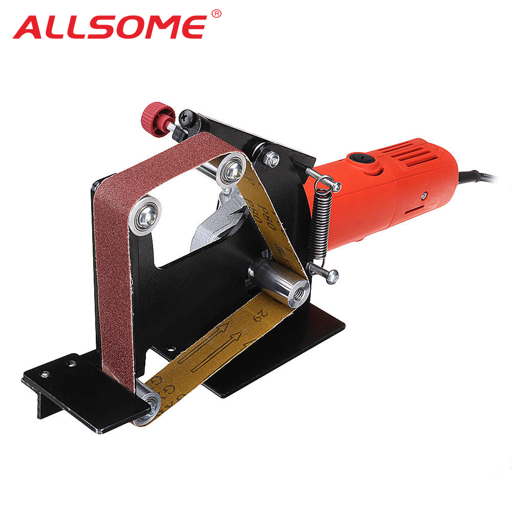 ALLSOME Angle Grinder Belt Sander Attachment Metal Wood Sanding Belt Adapter Use 100 Angle Grinder HT2376