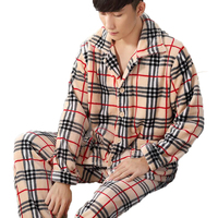 Men S Pajamas Plus Size Man Pijamas Long Sleeve Plaid Cardigan Flannel Pajama Sets Homewear Male