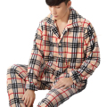 Men's Pajamas Plus Size Man Pijamas Long Sleeve  Plaid Cardigan Flannel Pajama Sets Homewear Male Sleepwear Pyjamas Large Size