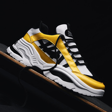 GNOME mężczyźni masywny trampki sznurowane żółty buty w stylu casual z platformą stylowe mieszane kolor oddychające dorosłych mężczyzn Tenis obuwie tanie tanio Dla dorosłych Mesh (air mesh) Paski Lace-up Szycia 19-07-16-01 Wiosna jesień Pasuje prawda na wymiar weź swój normalny rozmiar