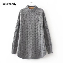 Женский свитер с высоким воротником, розовый, серый, черный повседневный Вязанный свитер большого размера 3, 4 XL на осень, KKFY332