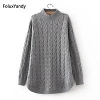 Autumn Turtleneck Sweaters Women Plus Size 3 4 XL Casual Knitting Sweater Pullovers Pink Gray Black KKFY332