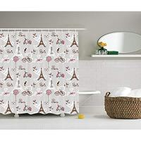 Vixm Paris Decor Shower Curtain Set Vespa Bike Mannequin Eiffel Tower And Hearts Bathroom Accessories