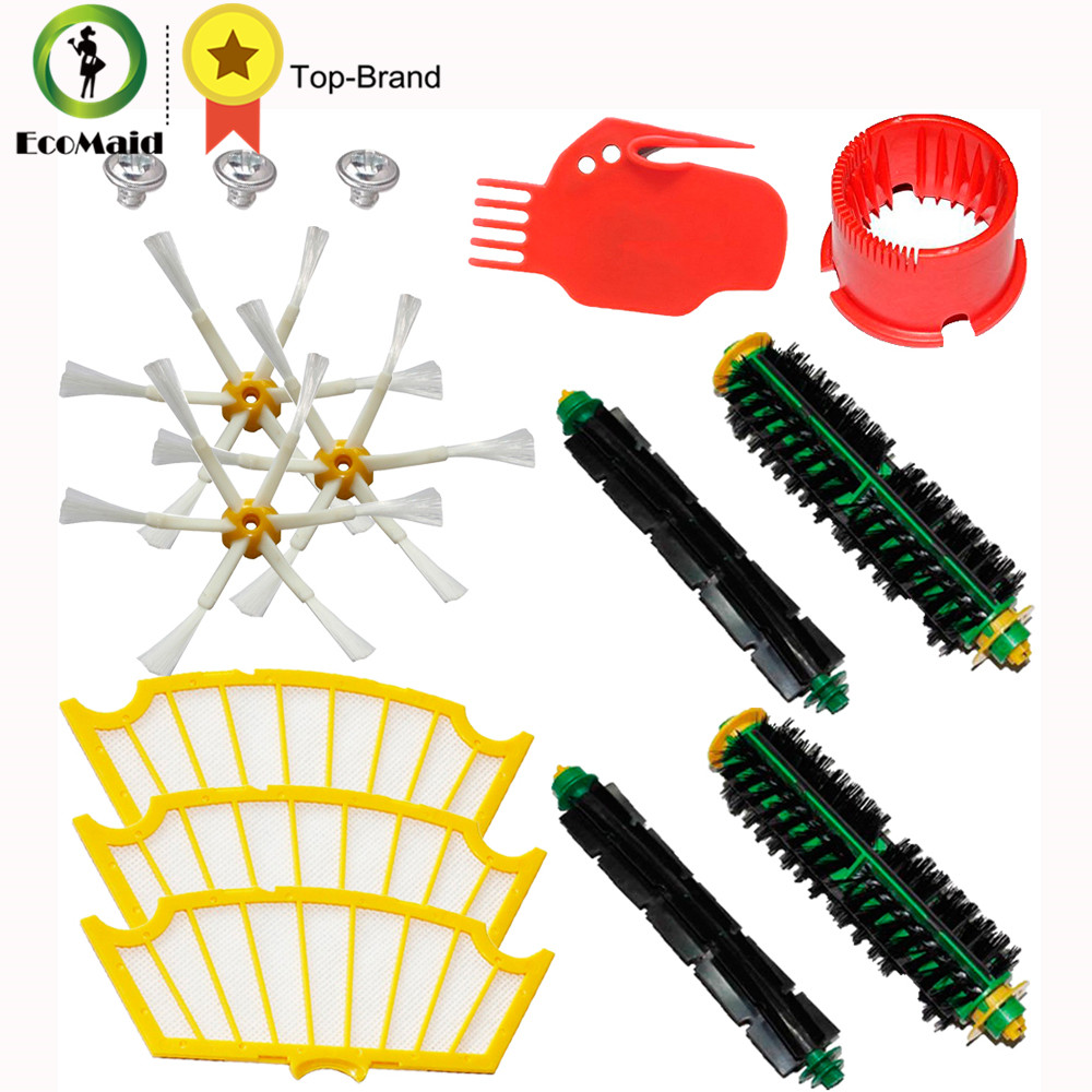 Kit for iRobot Roomba 500 Series Vacuum Cleaning Robots Bristle Brushes Flexible Beater Brush Side Brushes 6-Armed Screw Filters arm side brush yellow filter for irobot roomba 500 series replenishment kit for red and green cleaning heads