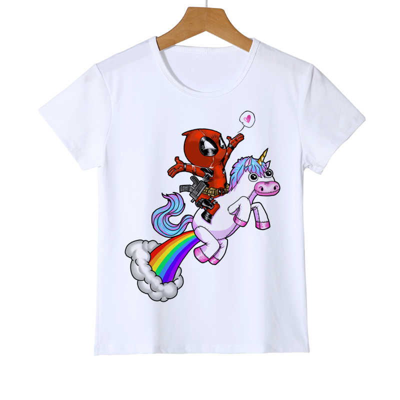 a89bc841a Summer Deadpool And Unicorn Printed kid T shirt Fashion cool confortable boy  girl baby Tshirt casual
