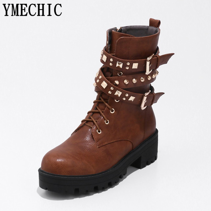 YMECHIC 2017 Ladies Rivets Buckle Strap Military Combat Motorcycle Boots Female Med Heel Ankle Boot Women