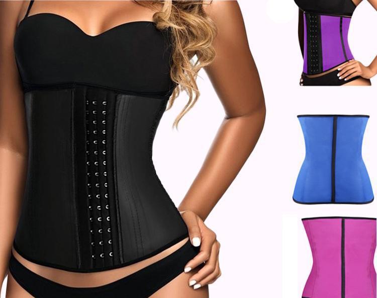 0ad944061 100% Latex Waist Trainer Corset 9 Steel Bone Shapewear Body Shapers Women  Corset Slimming Belt