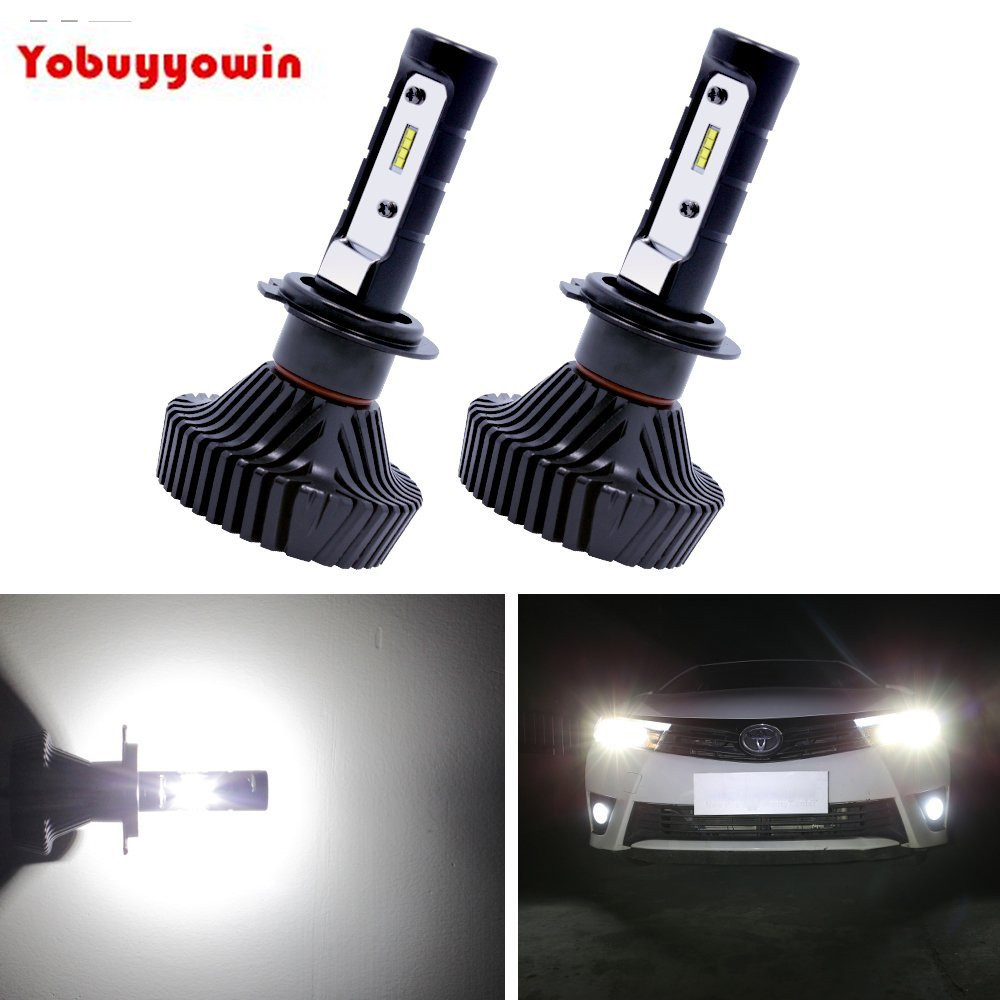 2PCS H7 LED Headlight Bulbs Conversion Kit Dipped Low Beam Fog Light Bulbs DRL 80W 9000LM 6500K Cool White Car LED Lights Canbus l20121211 1 h7 12w 600lm 6500k 4 smd 7060 led white light car dipped headlight dc 12v