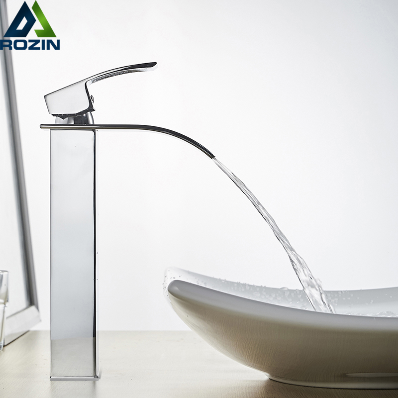 Rozin Waterfall Bathroom Sink Faucet Deck Mount Hot Cold Water Basin Mixer Taps Polished Chrome Lavatory Sink Tap