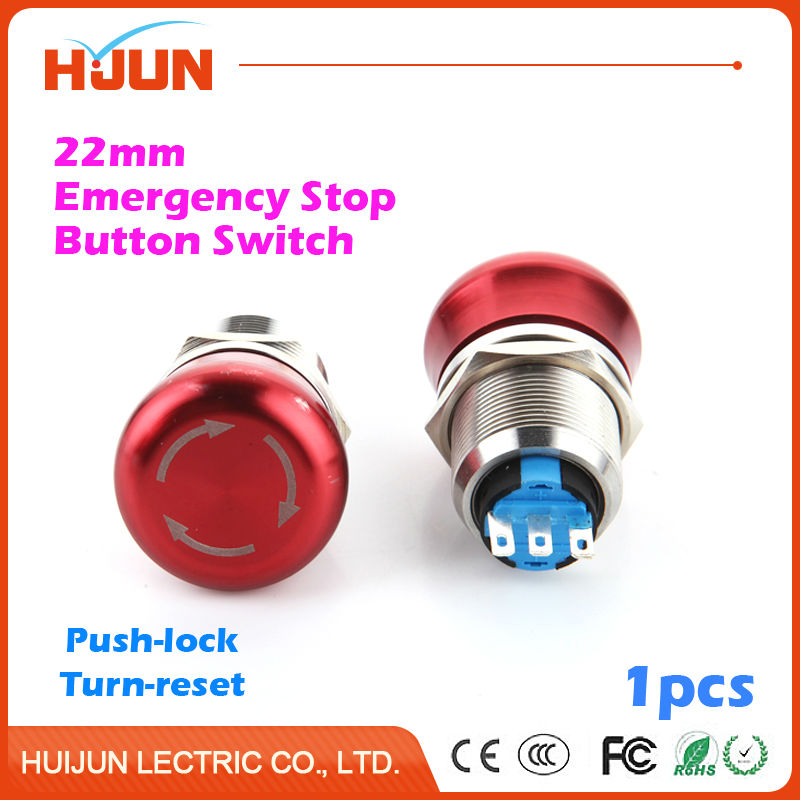1pcs 22mm Emergency Stop Button Switch Waterproof Flat Round Stainless Steel Metal  Push Lock Turn Reset Colour Red ac 600v 10a normal close plastic shell red sign emergency stop mushroom knob switch 22mm elevator emergency stop switch