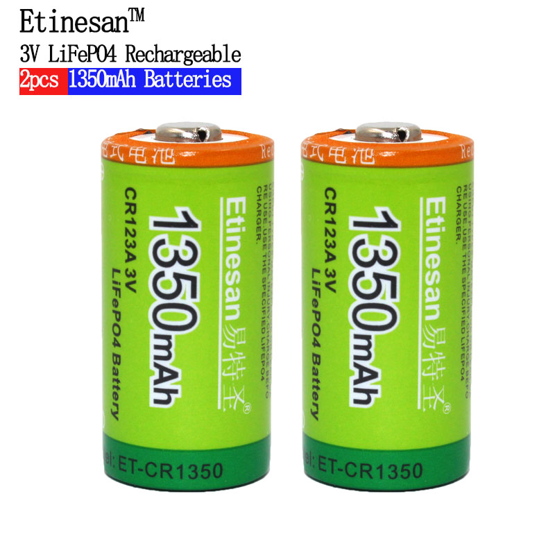 Etinesan 2pcs Cr123a 3v LiFePO4 Lithium Batteries Li-Po 16340 3.0V Li-ion Li-polymer 1350mAh Rechargeable Battery