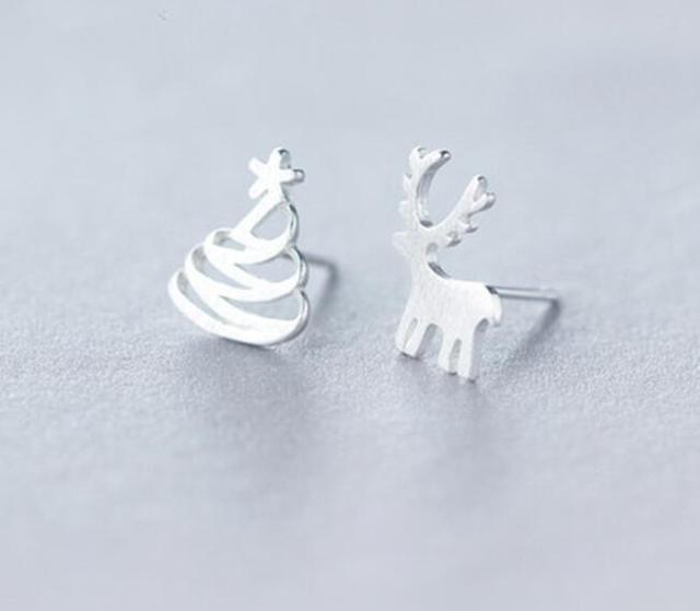 e4254caae498d US $2.99 |Jisensp Lovely Deer Christmas Tree Stud Earrings for Women Kids  Sliver Color Metal Asymmetric Earrings Temperament Jewelry Gift-in Stud ...