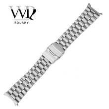 Rolamy 20 22mm Silver Hollow Curved End Solid Links Replacement Watch Band Strap Bracelet Double Push Clasp For Seiko