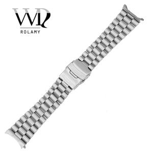 Image 1 - Rolamy 20 22mm srebrny Hollow zakrzywiony koniec solidne ogniwa wymiana Watch Band bransoletka z paskiem podwójne zapięcie Push dla Seiko