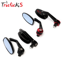 Triclicks CNC Aluminum Rear View Mirrors Red Black Right Left Rearview Side Mirror Handle Bar End Racing Motorcycle 7/8 Pair