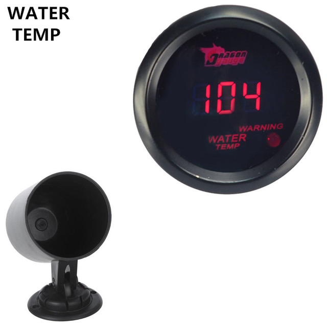 "EE support 2"" 52mm Black Shell Red LED Car Auto Digital Clocks Fahrenheit Water Temp Gauge + Pod Holder XY01"