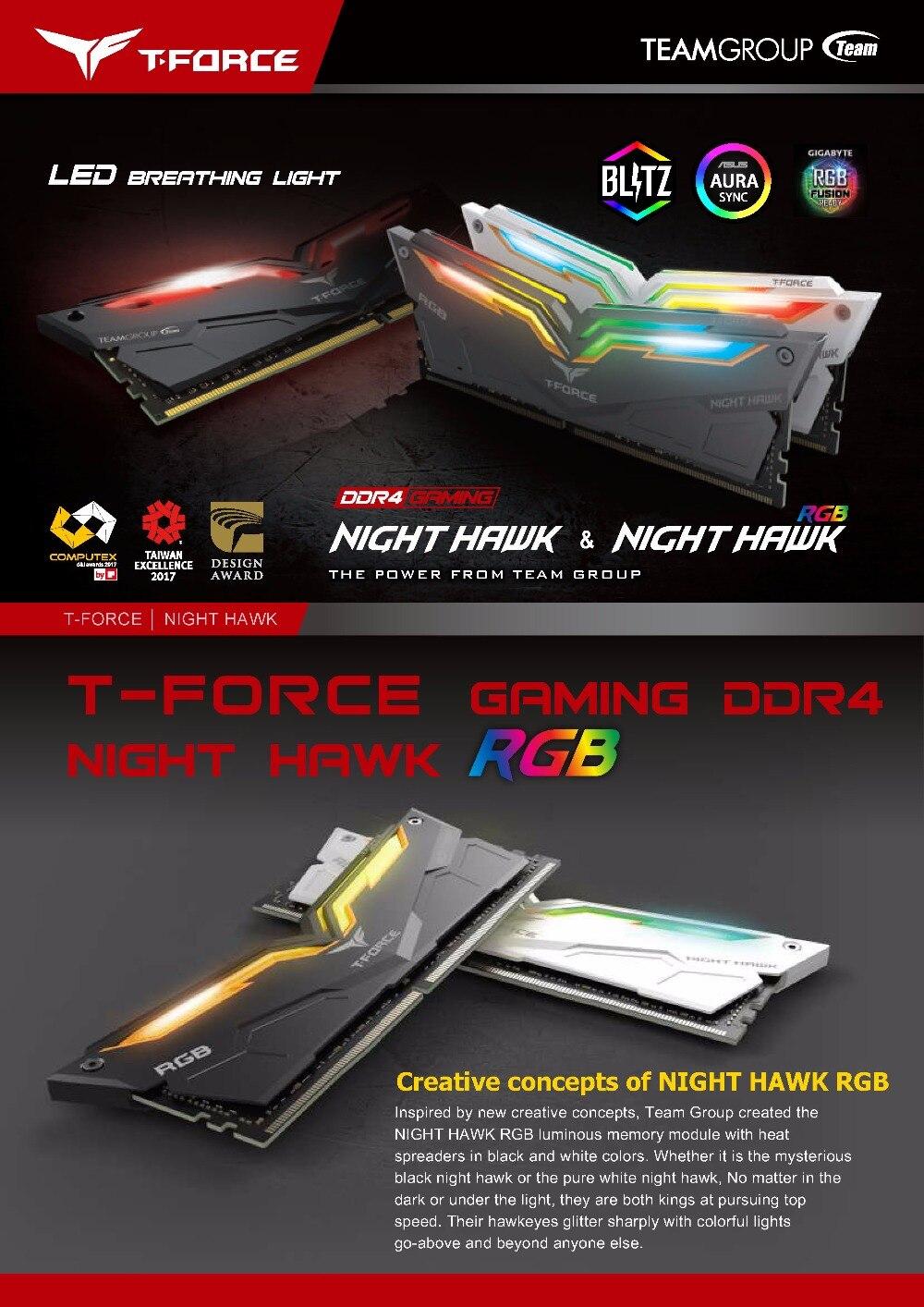 Équipe groupe nuit HAWK RGB DDR4 ordinateur de bureau de mémoire 8G 3000 MHz ordinateur de jeu RAMs 288 broches CL16 LED RAMs de jeu - 3