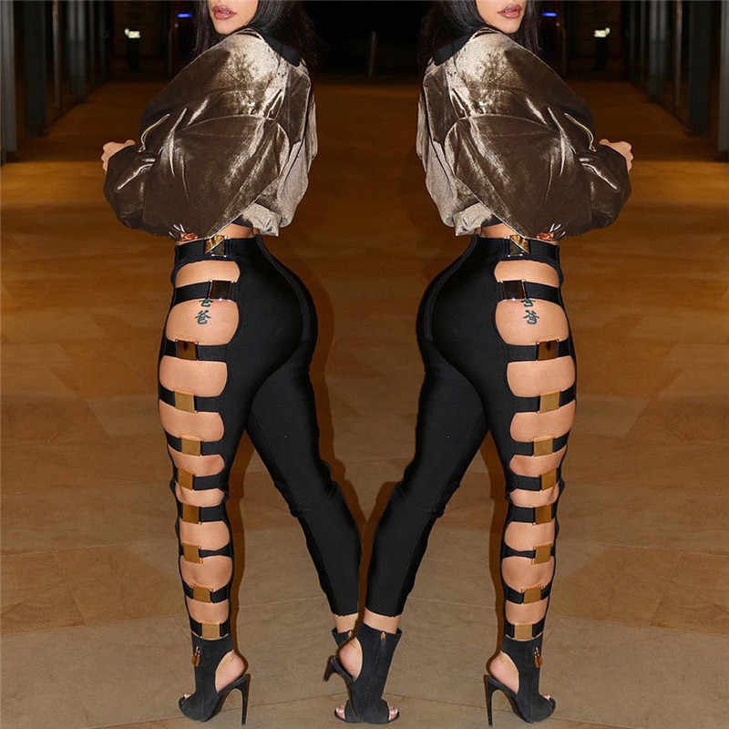 New Sexy Women Hollow Out Holes Pants Summer Bandage Wet Look Sexy Faux Leather Pants Trousers Clubwear