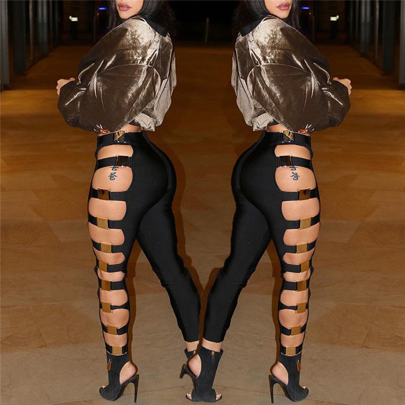 shop best sellers official supplier cheap for sale US $9.64 12% OFF|New Sexy Women Hollow Out Holes Pants Summer Bandage Wet  Look Sexy Faux Leather Pants Trousers Clubwear-in Pants & Capris from ...