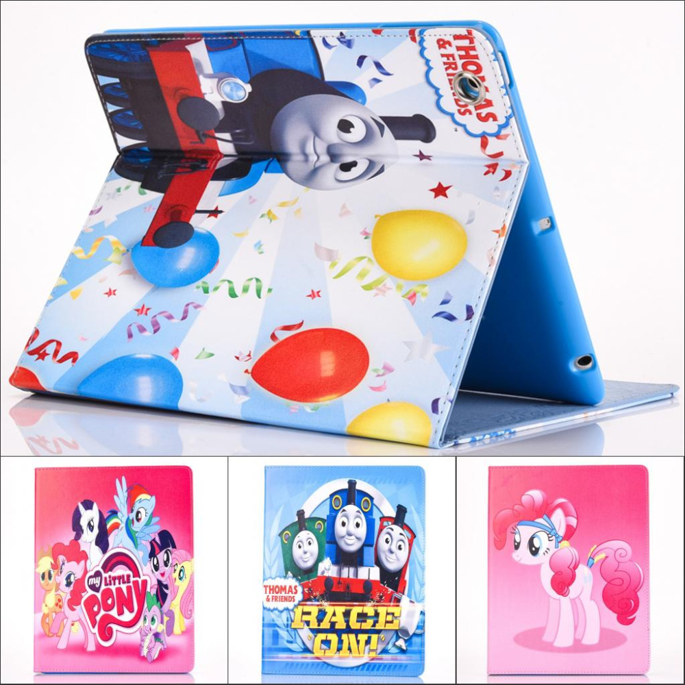 Fashion Moive My Little Pony and Thomas Pu leather stand holder Cover Case For ipad 2 for iPAD 3 ipad 4 with screen protector