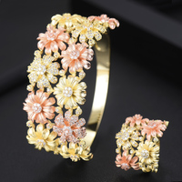 Shiny Micro Cubic Zirconia Paved Blooming Flowers Charm Bangle Ring Jewelry Set Bridal Wedding Anniversary Party Accessories