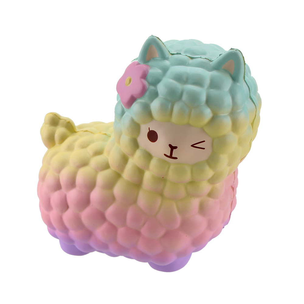 Squsihies Stress Toys Squishy Slow Rising Stress Toys Alpaca 7.1 Rainbow (5)