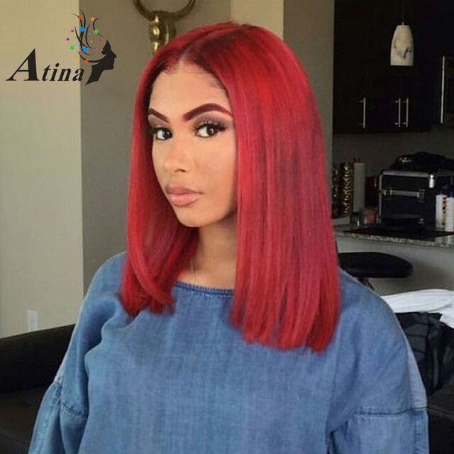 Red Straight Bob Lace Front Human Hair Wig For Women Deep Part 13X6 Lace  Front Wigs Short Blunt Cut Virgin Hair Wig 150%Density adbe40424