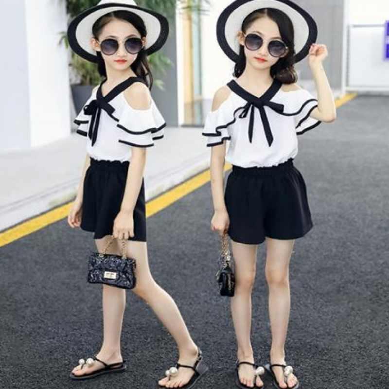 Terno Meninas Terno de Verão 2019 Nova Moda de Verão Coreano das Crianças Fashion Girls Moda Two-piece Set Meninas Irritar outfits