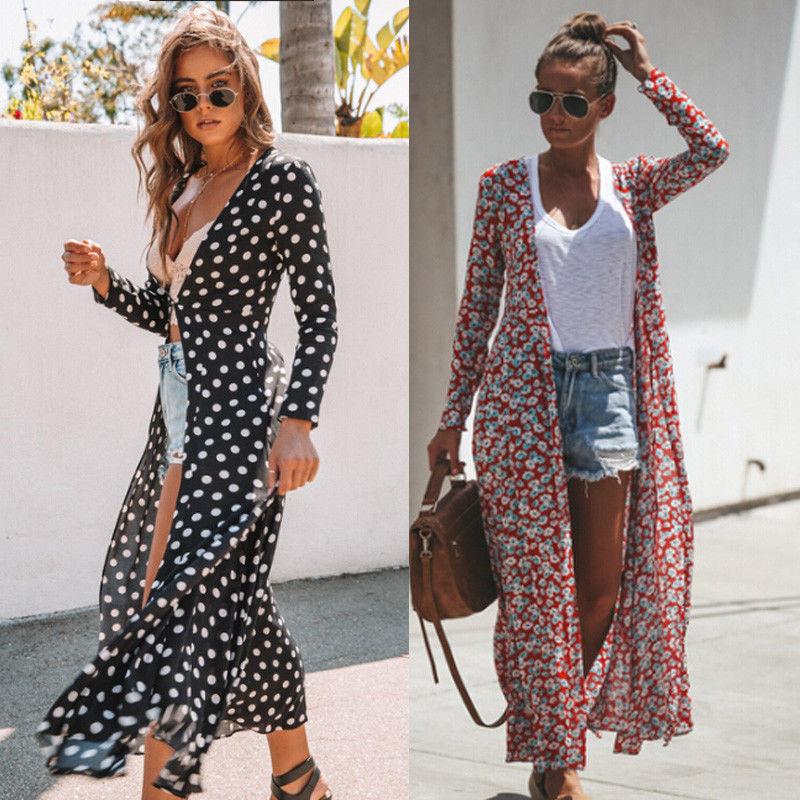 Autumn Fashion Women Lady Floral Maxi Kimono Duster Cardigan Chiffon Shirts Open Front Loose Blouses Streetwear