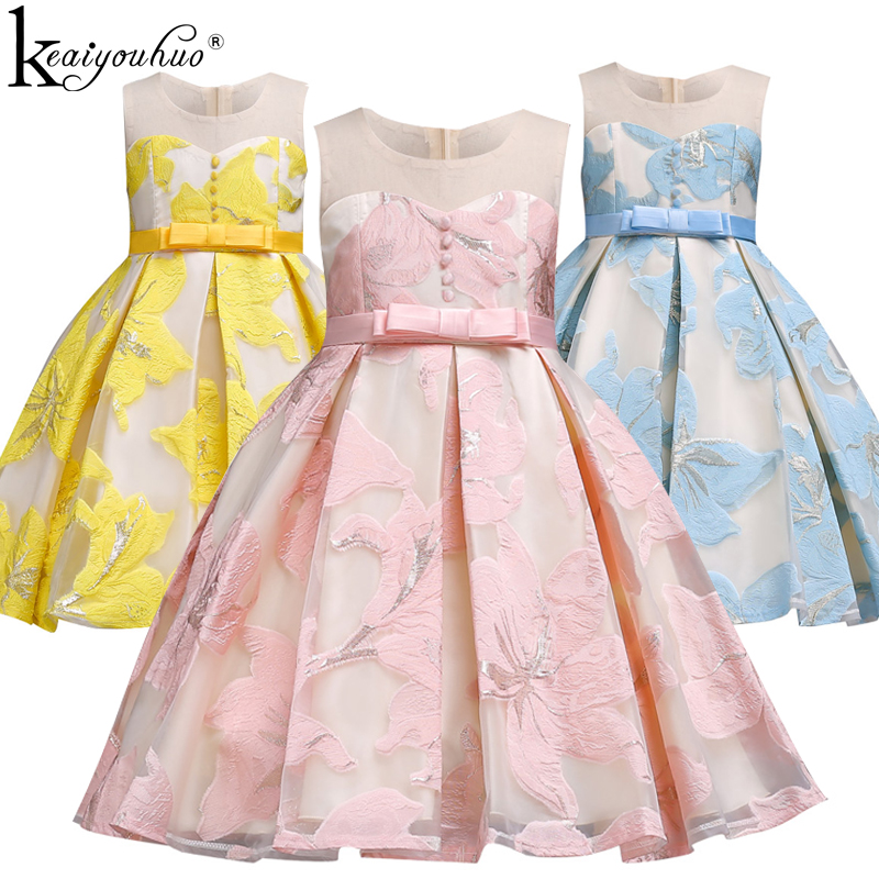 Vestidos Party Girls Dress New 2018 Summer Flower Toddler Wedding Dress Costumes Elegant Birthday Kids Dresses For Girls Clothes kids girls dress girls striped dress baby girls summer clothes girls dresses for party and wedding kids clothes 2018 new arrival